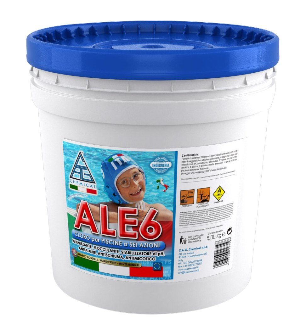 Acquista cloro 6 fuzioni in pastiglie per piscine kg 5 ale6 disinfettante antialghe flocculante - Trattamento antialghe piscina ...