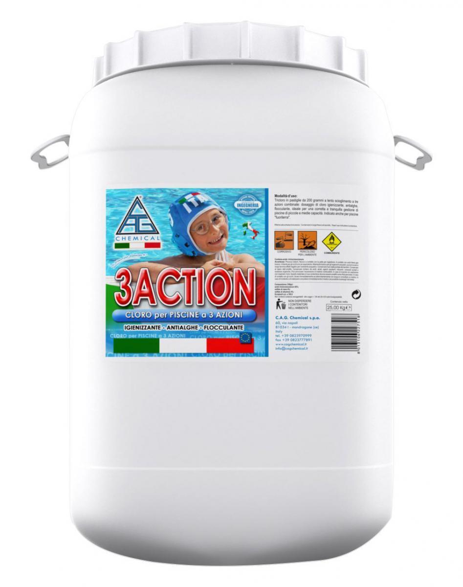Cloro multifuzione in pastiglie per piscine 3action for Cloro per piscine
