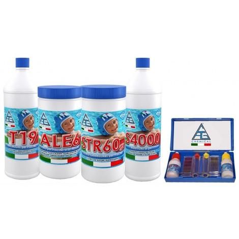 Acquista kit manutenzione piscina pz 4 1 antialghe cloro multifunzione correttore misuratore ph - Misuratore ph piscina ...