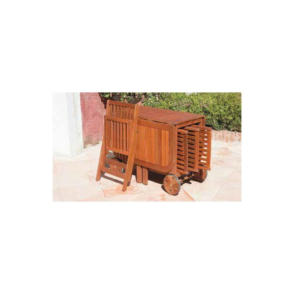 Set tavolo da esterno giardino in legno con 4 sedie for Sedie tavolo esterno