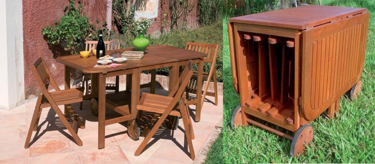 Acquista set tavolo da esterno giardino in legno con 4 ...